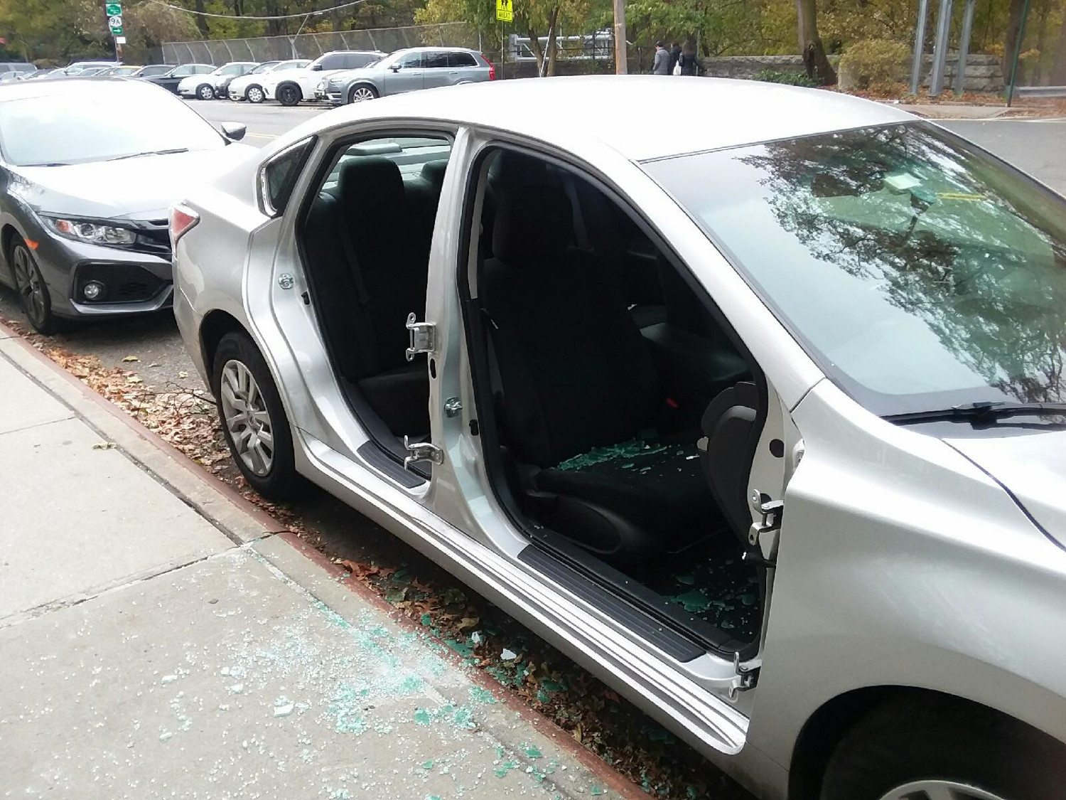 Doors were recently removed from a car near 5400 Fieldston Road in North Riverdale. 'You don't see that every day,' local resident Herb Eysser said. 'Somebody taking the doors off a car? It's bad enough if they take off the wheels.'