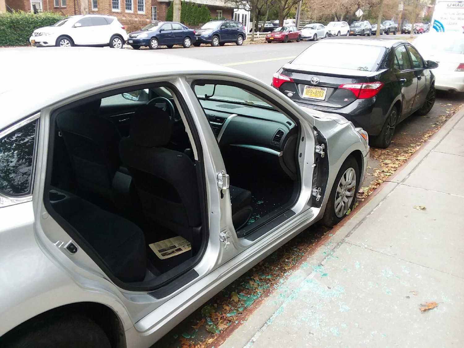 "Doors were recently removed from a car near 5400 Fieldston Road in North Riverdale. While rim and tire theft has always been a problem, stolen doors are ""very, very rare,"" according to Police Officer Juan Ventura of the 50th Precinct. Police are still investigating."