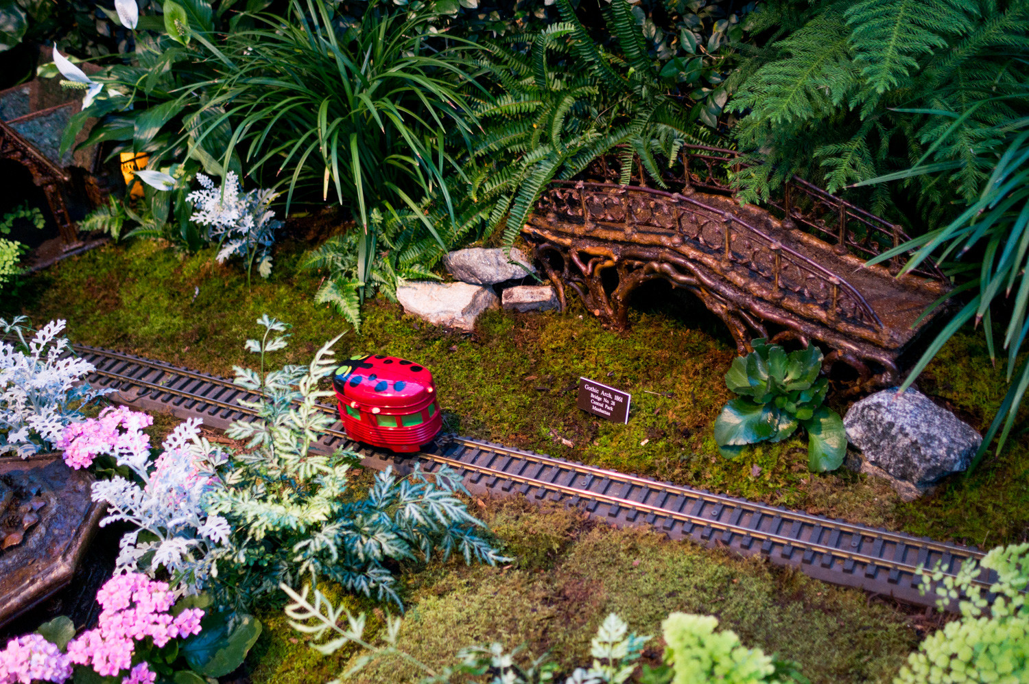 A ladybug train car whizzes by a replica of the Gothic Arch.
