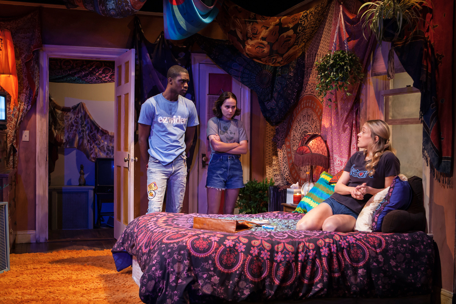 Moise Morancy, left, Sadie Scott and Chloe-Sevigny appear in 'Downtown Race Riot' Off-Broadway at the Pershing Square Signature Center, 480 W 42nd St.