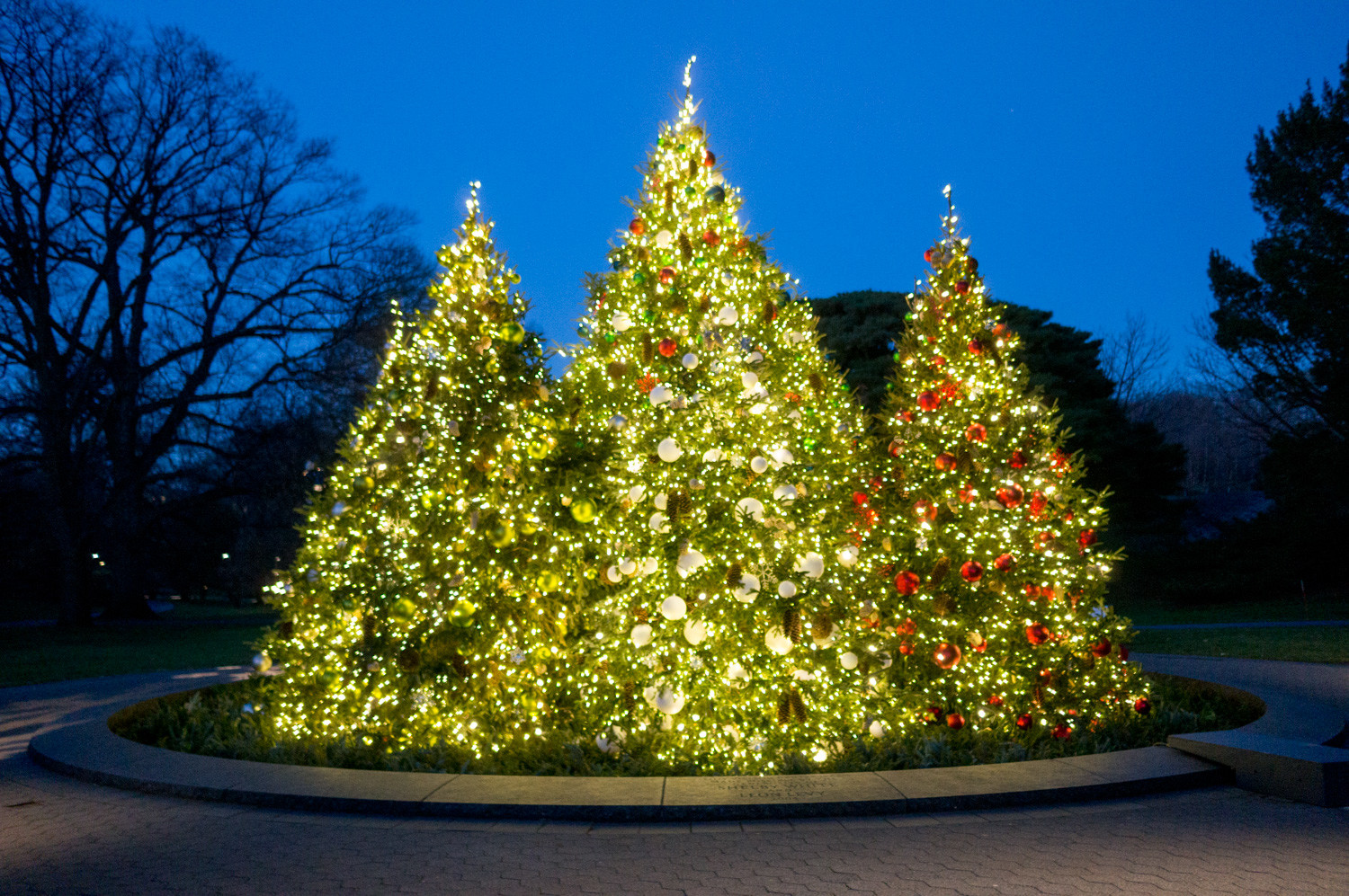 The New York Botanical Garden is decked out in Christmas lights and trees in the spirit of the season. The biggest expression of the Botanical Garden's holiday cheer is the holiday train show, which takes up most of the conservatory.