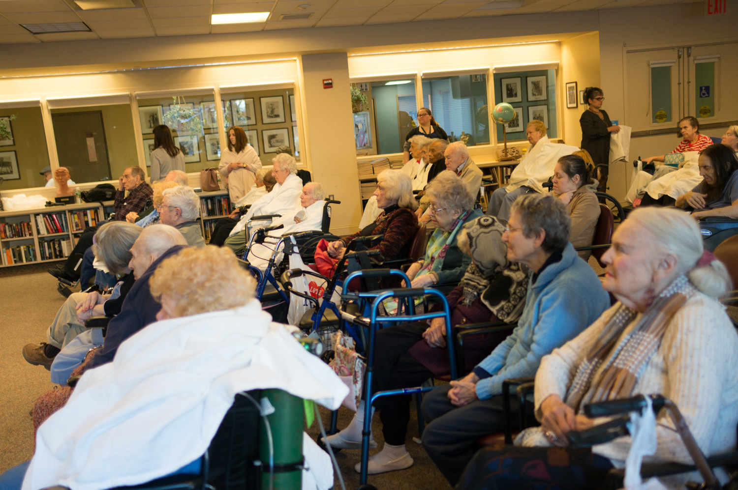 Hebrew Home at Riverdale residents watch a performance by Ani Margaryan and Aleksandr Avetisyan.