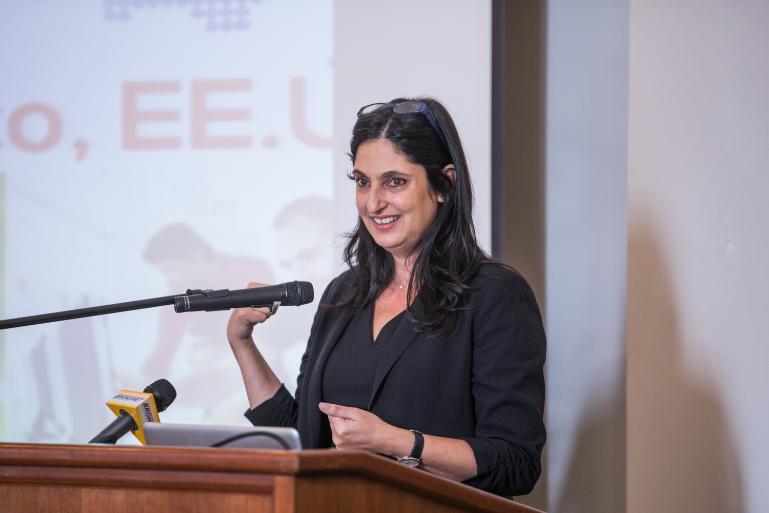 Anthropology professor Rima Brusi speaks at a Lehman College conference about the challenges Puerto Rico still faces in the aftermath of Hurricane Maria.
