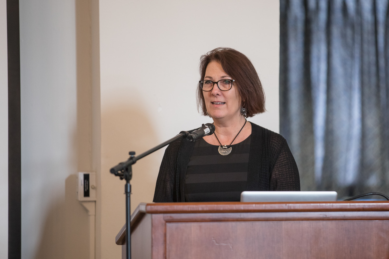 Victoria Sanford, director of Lehman College's Center for Human Rights and Peace Studies, speaks at a panel discussion about the challenges Puerto Rico faces in the aftermath of Hurricane Maria.