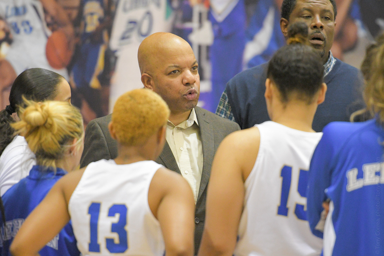 Lehman head coach Eric Harrison rips into his team during the Lightning's 78-75 loss to Ramapo last week. Harrison later said his team is in major need of an attitude adjustment.