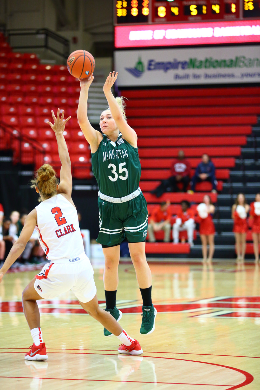 Manhattan senior Kayla Grimme turned in yet another solid outing with a game-high 15 points in the Jaspers' lopsided victory over LIU Brooklyn.