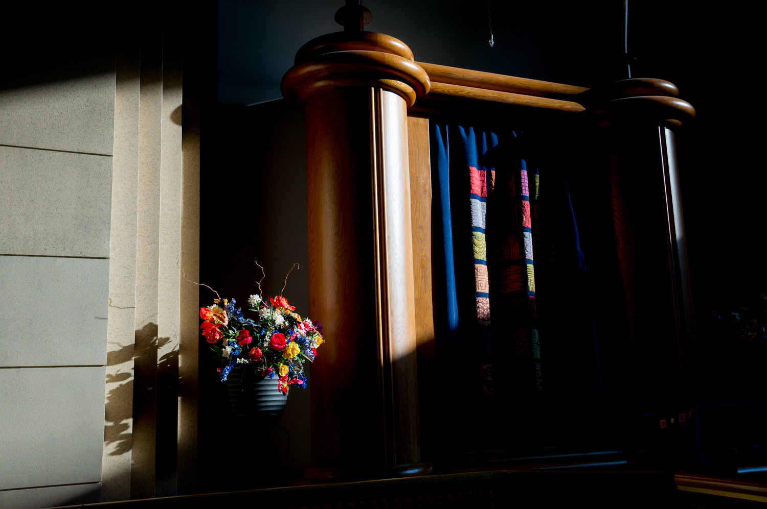 The ark holds sacred Torah scrolls at the Hebrew Institute of Riverdale. The synagogue will no longer congratulate same-sex couples on their marriages in its member newsletter in accordance with a new policy prescribed by the Orthodox Union, the largest association of Orthodox synagogues in the United States.