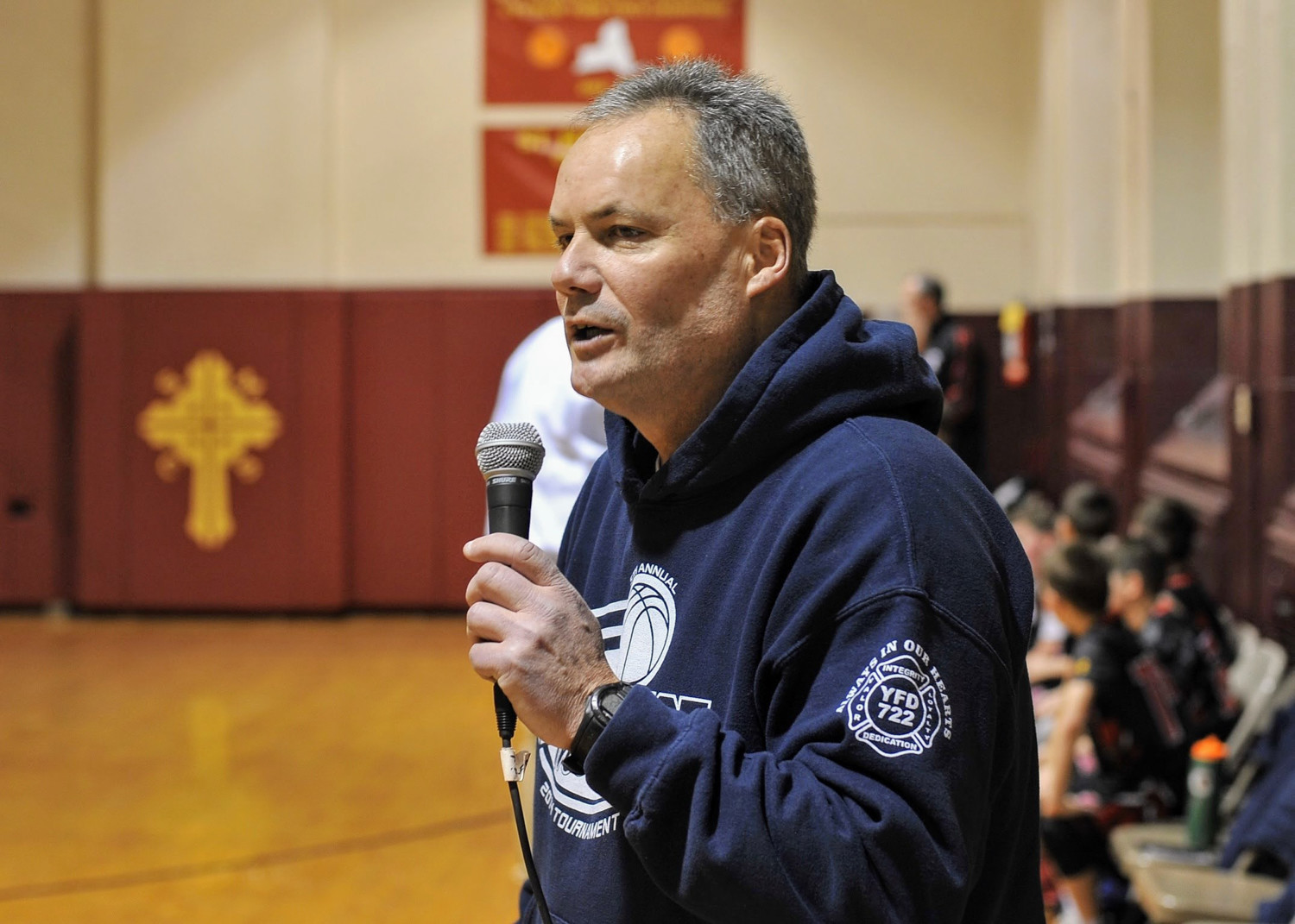 Pat Woods, head coach of the St. Margaret's varsity boys basketball team, along with tournament director Billy McLoughlin, have made the Pat Joyce Memorial Basketball Tournament a yearly fixture in Riverdale.