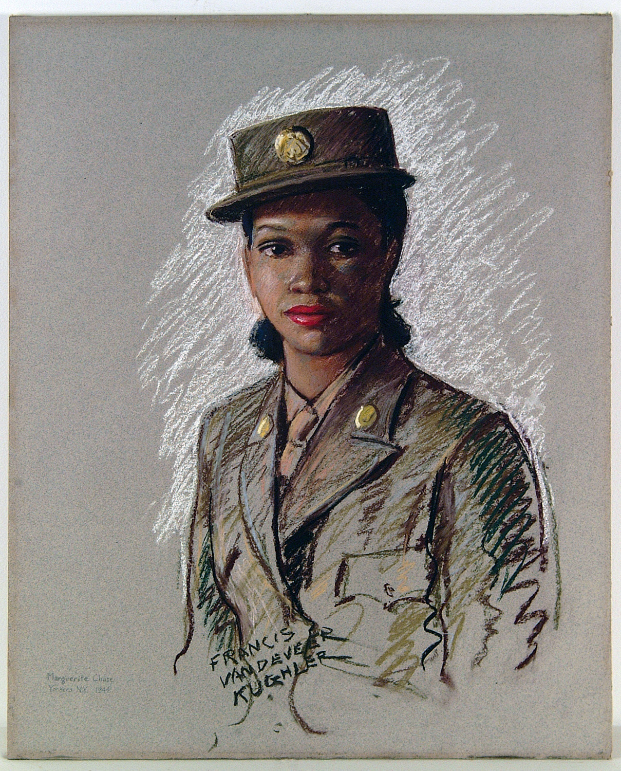 The Women's Army Corps sent artist Francis Vandeveer Kughler to draw portraits of women in the armed forces during World War II, and one of the subjects happened to be Marguerite Chase, a woman from Yonkers who served in the Army during the war. Kughler's drawing of Chase is just one of many portraits featured at the Hudson River Museum's 'Figural Works from the Collection' display that runs through Jan. 21.
