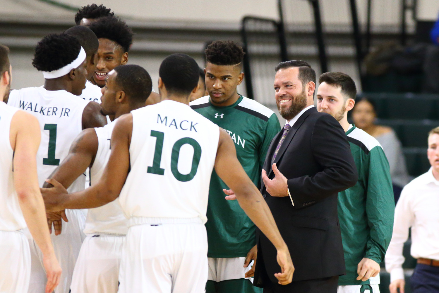 Manhattan College head coach Steve Masiello was all smiles when the Jaspers held a double-digit lead, but his team faded down the stretch, losing to Rider.
