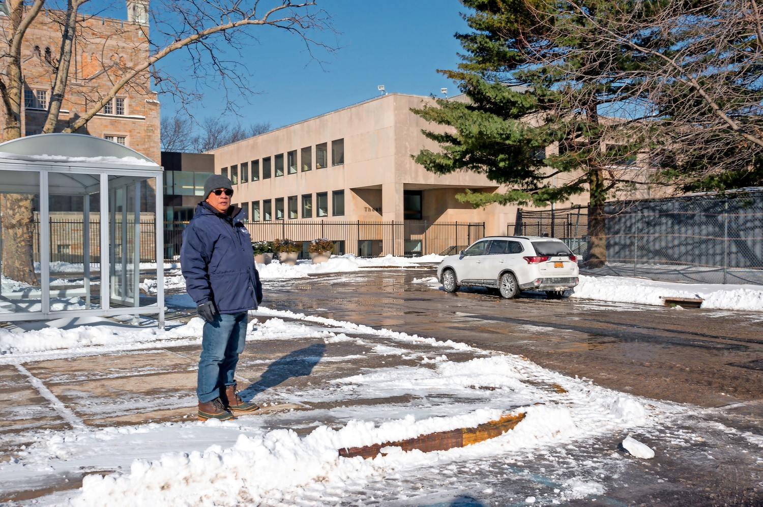Raymundo Pegollo oversees the buildings and grounds staff at Lehman College. Pegollo, the chief administrative superintendent, worked late the night of the bomb cyclone to help clear the snow.