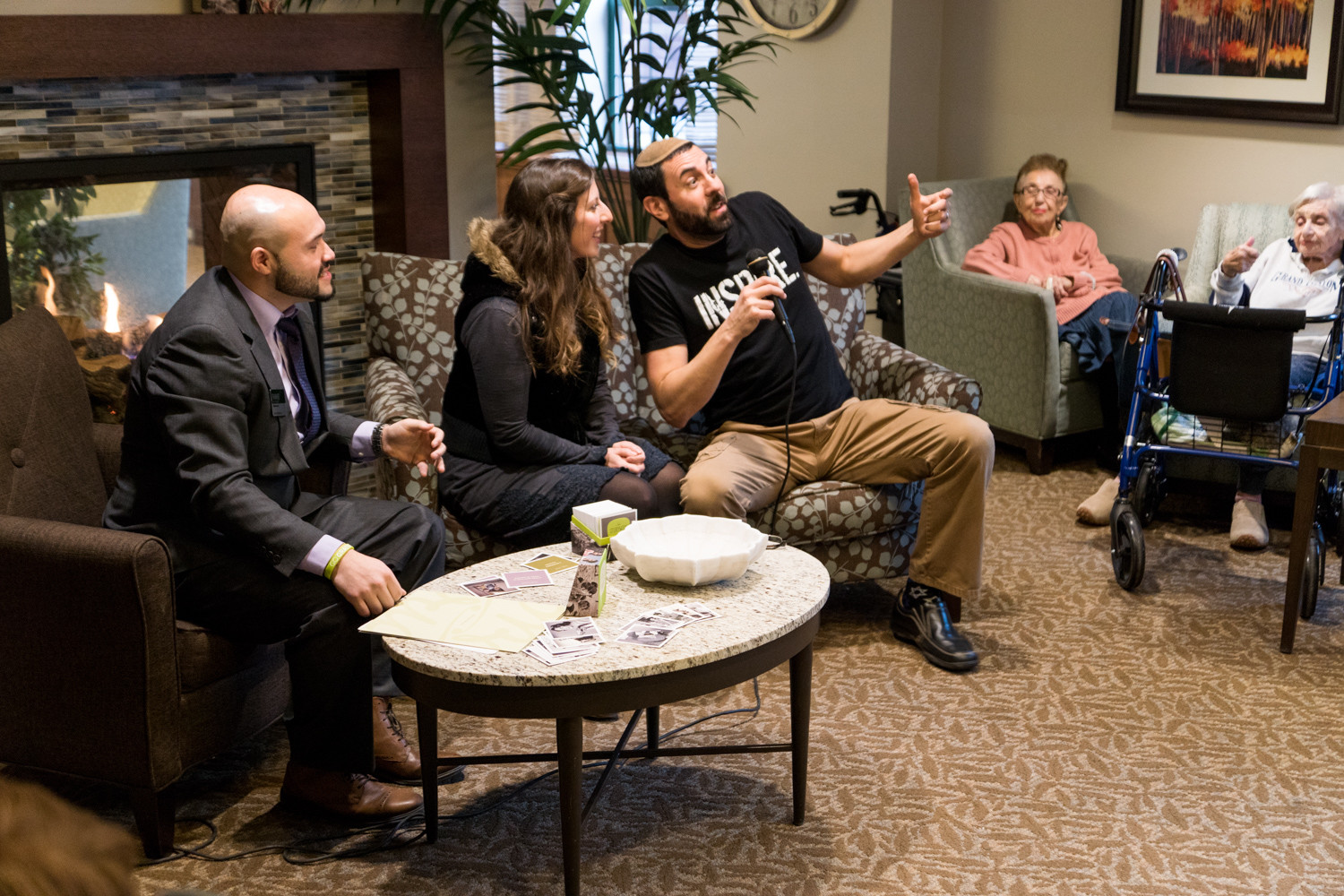 Rabbi Mordechai Walker shares a humorous story about him and his wife Rebecca encountering a bear while on a mountain and their attempt to get away, all during a storytelling event at Atria Riverdale. The senior assisted living facility created the free app Storywise where users could recall memories prompted by questions from the app. It's available on iTunes.