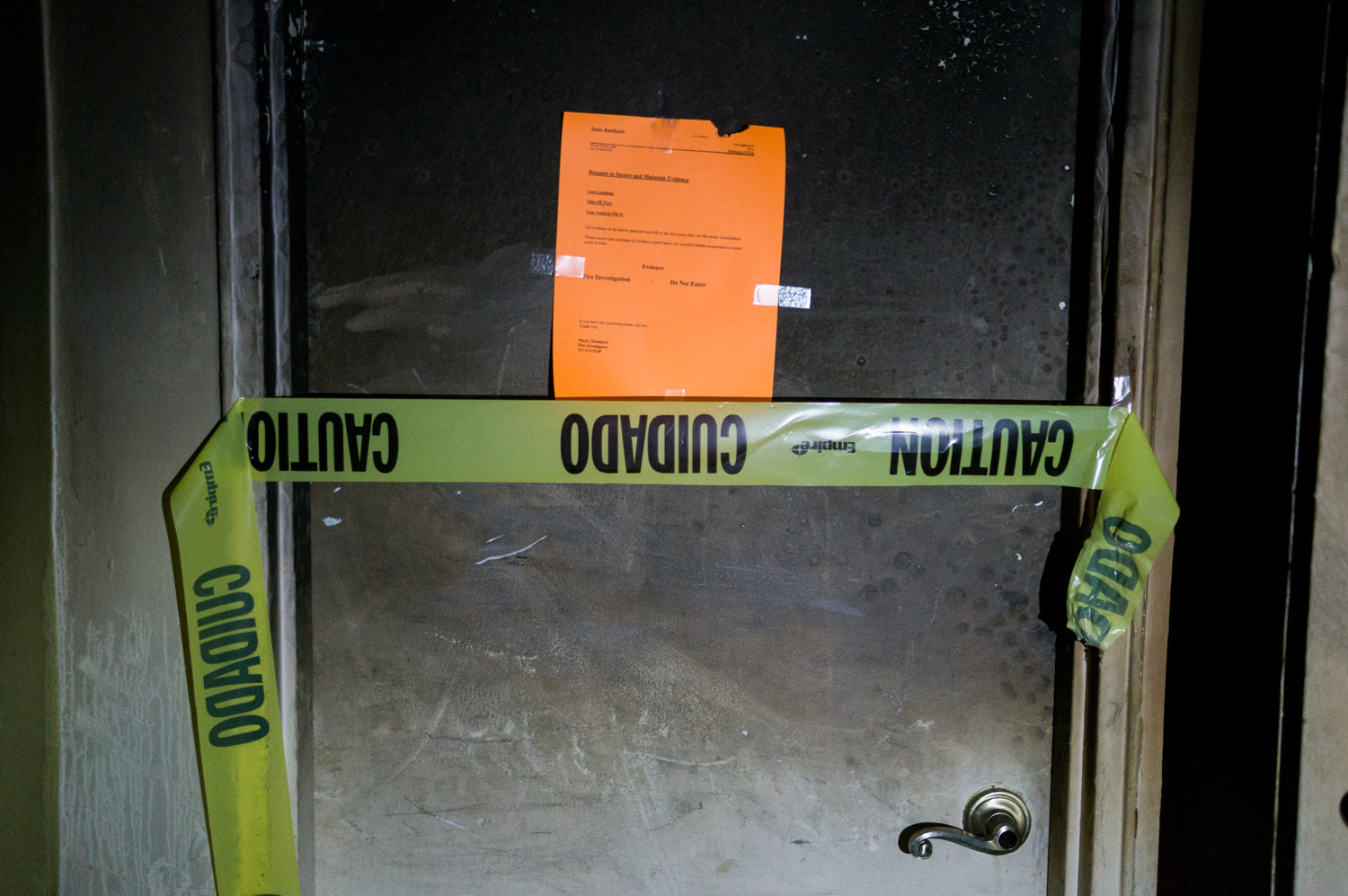 Caution tape cordons off the room where the fire started in Ana Anderson's apartment at 6035 Broadway on Jan. 6.
