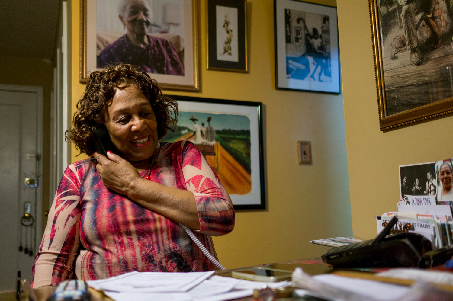 Delores Dixon takes a phone call in her home. A folk singer who practices tai chi and line dancing — and has been a Riverdale resident for the last 41 years — Dixon deals with 'what some would call 'vertigo,'' she said, a condition of frequent dizziness and headaches, and hopes the New York Health Act won't make the health care process more confusing.