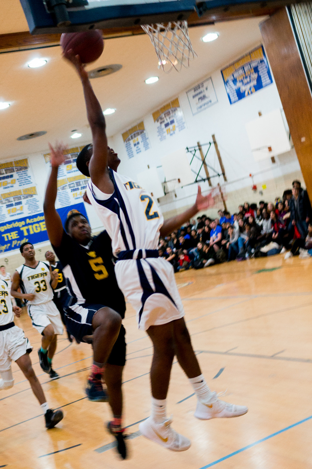 Jaiden Lewis tosses in two of his team-best 21 points in RKA's hard-fought victory over Hyde Charter.