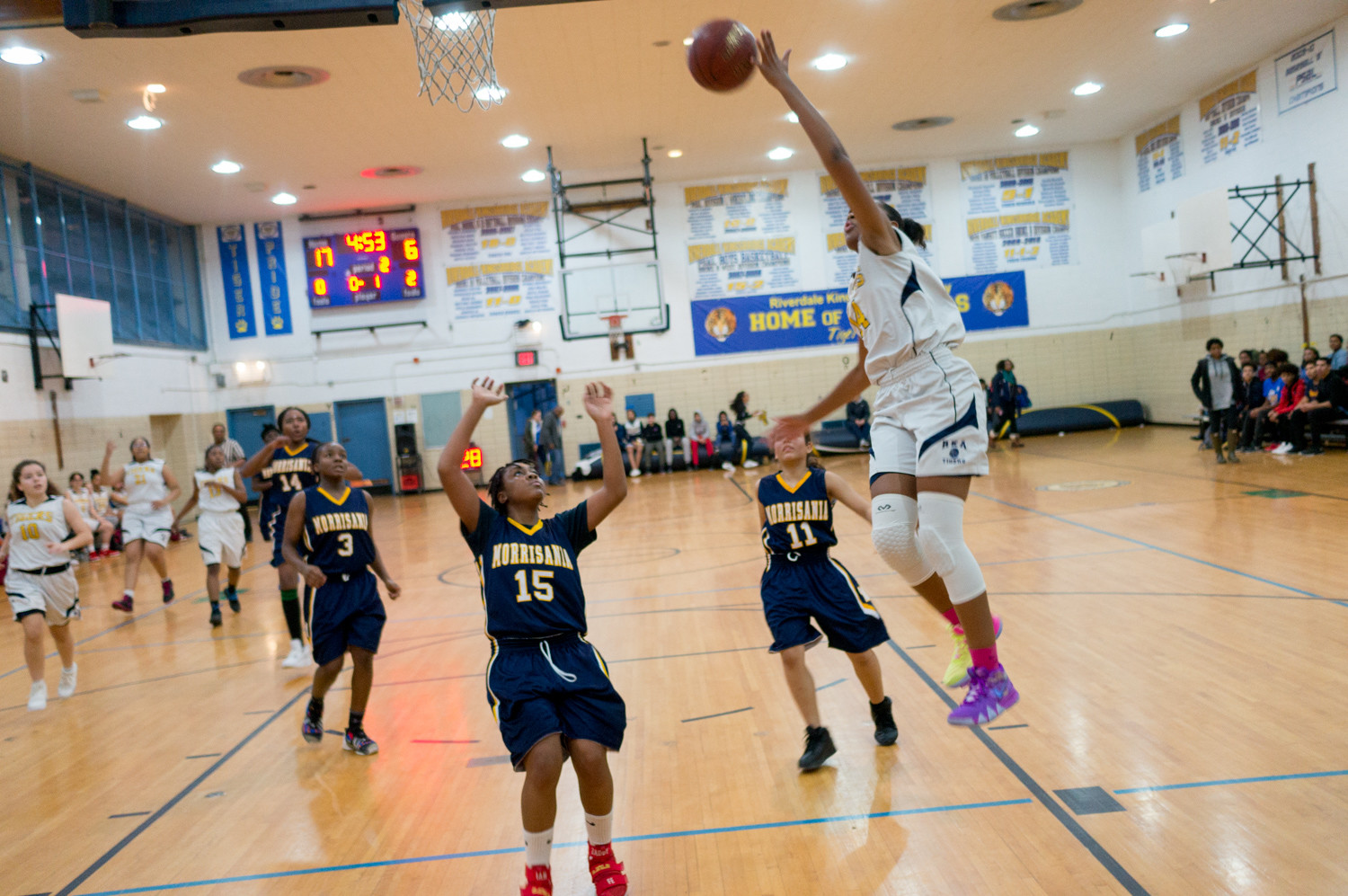 RKA's Shadai Plowden cruises in for an easy bucket in the Lady Tigers' lopsided victory over Morrisania last week.