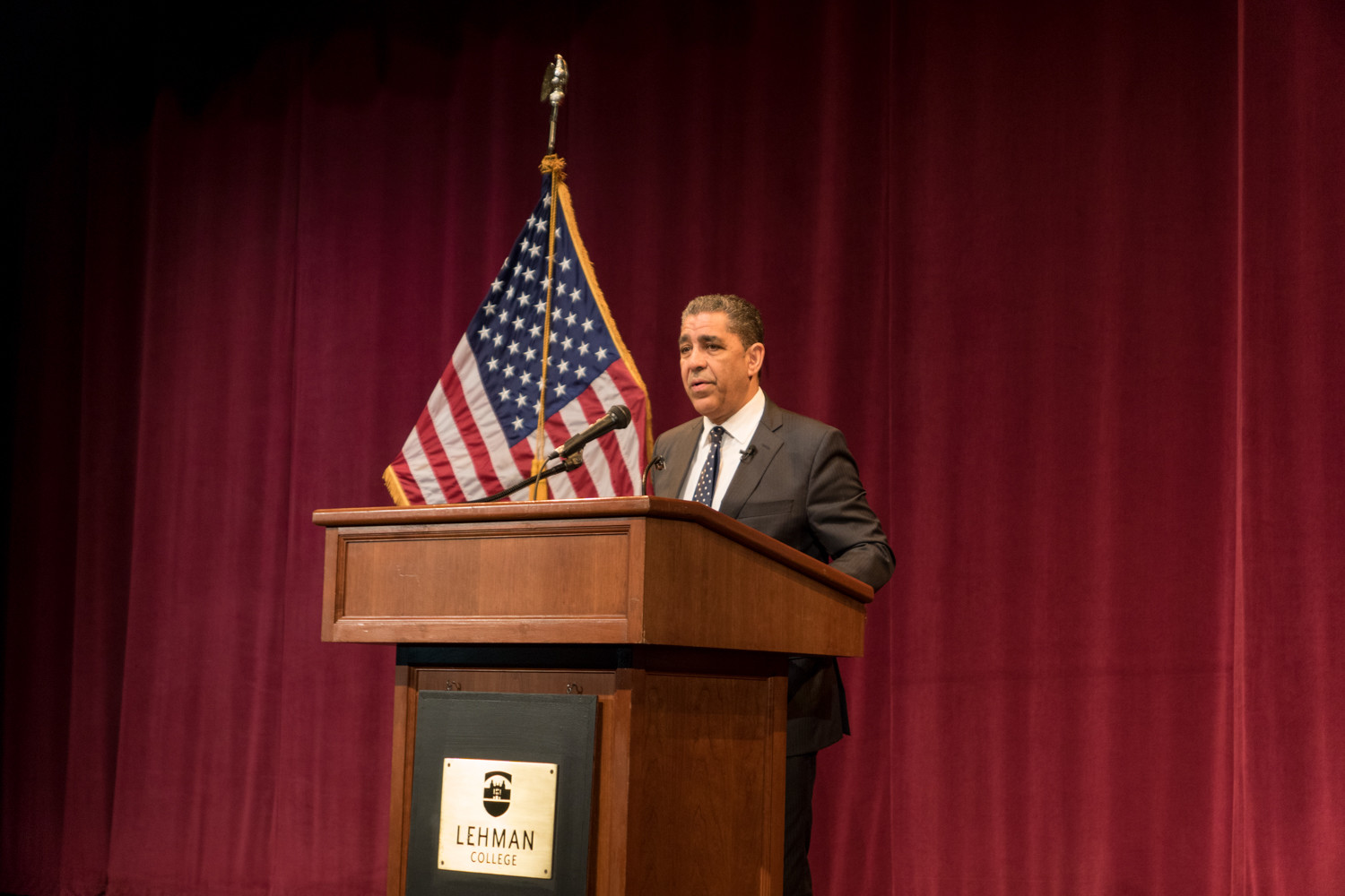 U.S. Rep. Adriano Espaillat talks about the need for organizing during the current Trump administration at Lehman College last year. Espaillat is a main attraction at a free meet-and-greet breakfast hosted by the Van Cortlandt Jewish Center on Jan. 28, with other elected officials expected to attend.