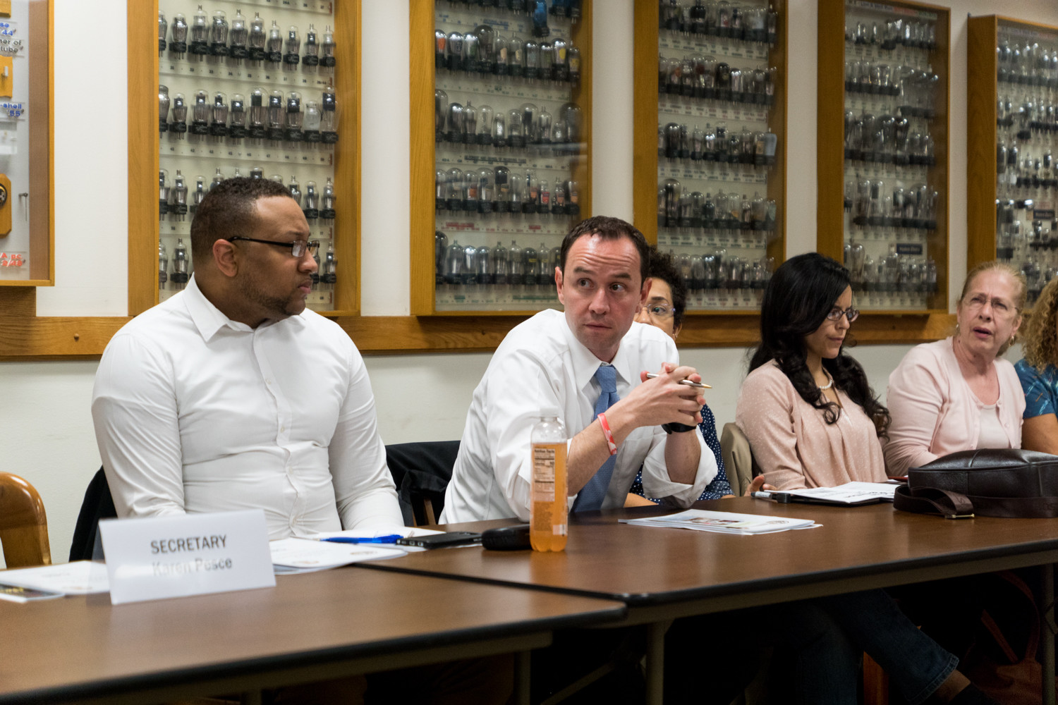 Dan Padernacht, center, attends a Community Board 8 meeting last September. The search for a new district manager might be expanding, giving new potential candidates a chance to apply.