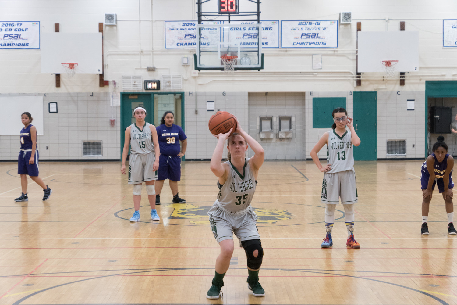 Bronx Science senior center Georgia McKay (35) logged a pair of double-doubles in the Wolverines' two victories last weekend.