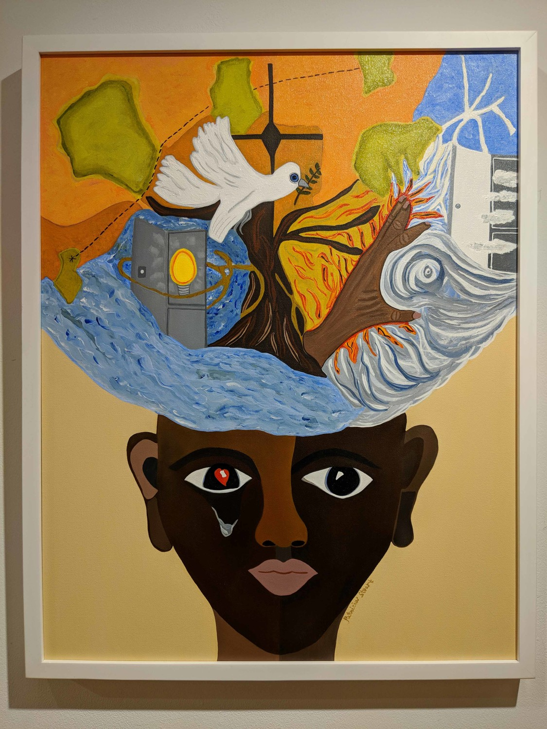Artist Patricia Stuart lets family and religion inspire her work. Her piece 'Creative Mind' is one of many works exhibited at the Yonkers Public Library's Riverfront Art Gallery through Feb. 21.