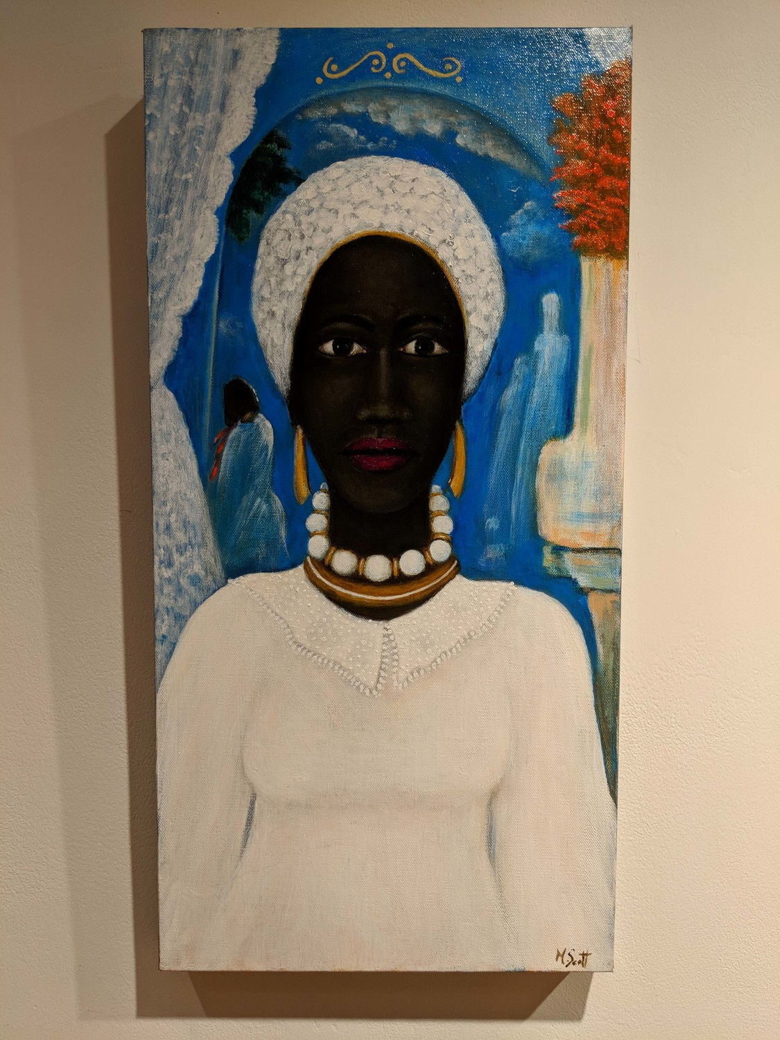 Artist Madge Scott looks back on life from the 1960s to the 1980s in 'Life,' a piece on display at the Riverfront Art Gallery in Yonkers. Scott is one of five artists participating in the gallery's Black History Month exhibit, 'The Way Back.'