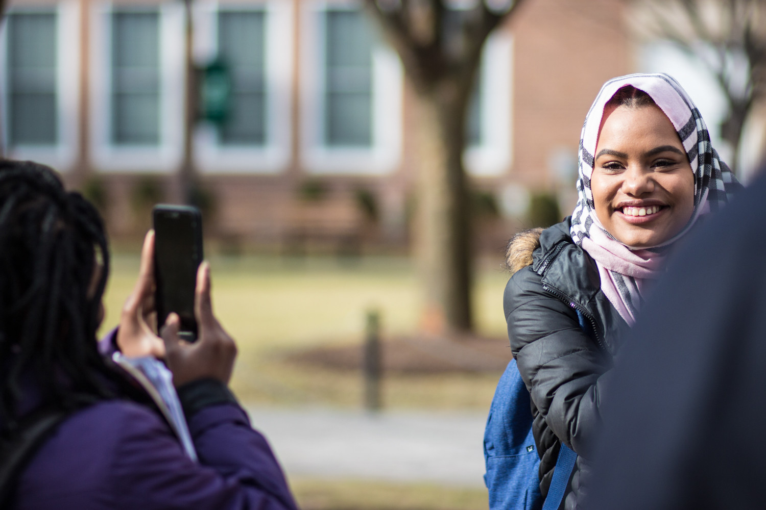 Muslim and non-Muslim female students and faculty alike partook in World Hijab Day on the quadrangle at Manhattan College.