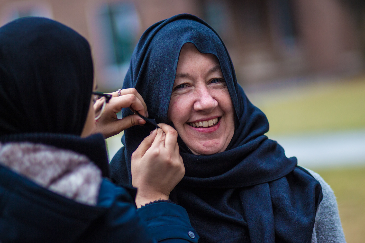 Margaret Groarke, an assistant professor of government at Manhattan College, was one of many non-Muslim women to partake in World Hijab Day on Feb. 1. Manhattan College's Muslim Student Association hosted the event to increase awareness of Muslim students on campus.