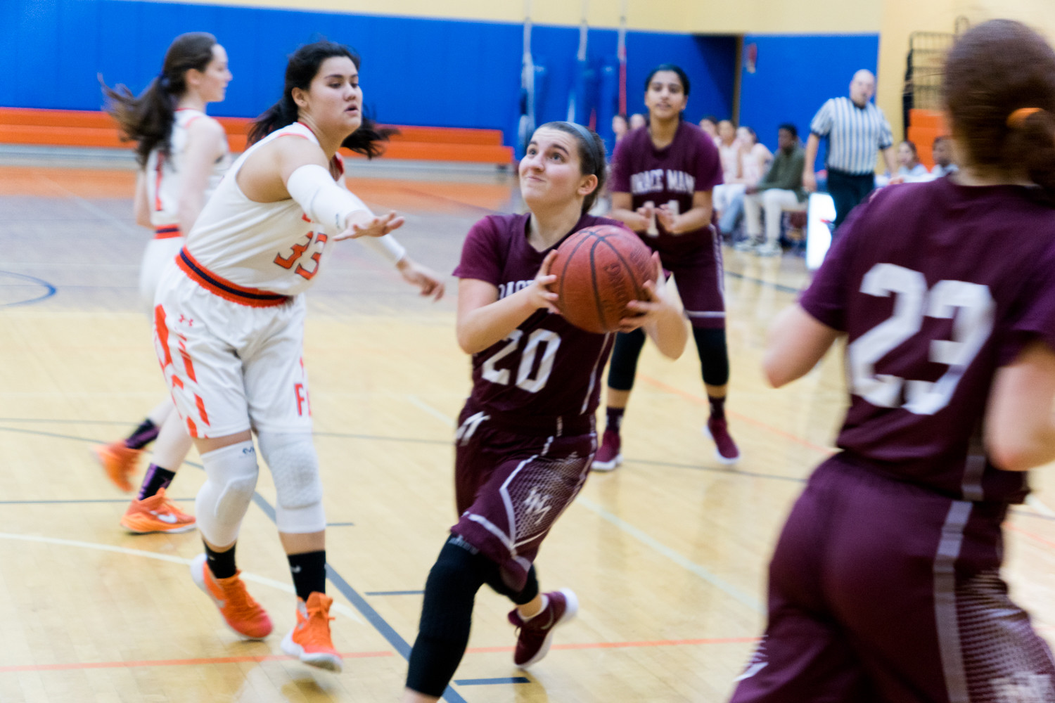 Horace Mann senior guard Jane Frankel drives the lane for a bucket in the Lions' win over Fieldston.