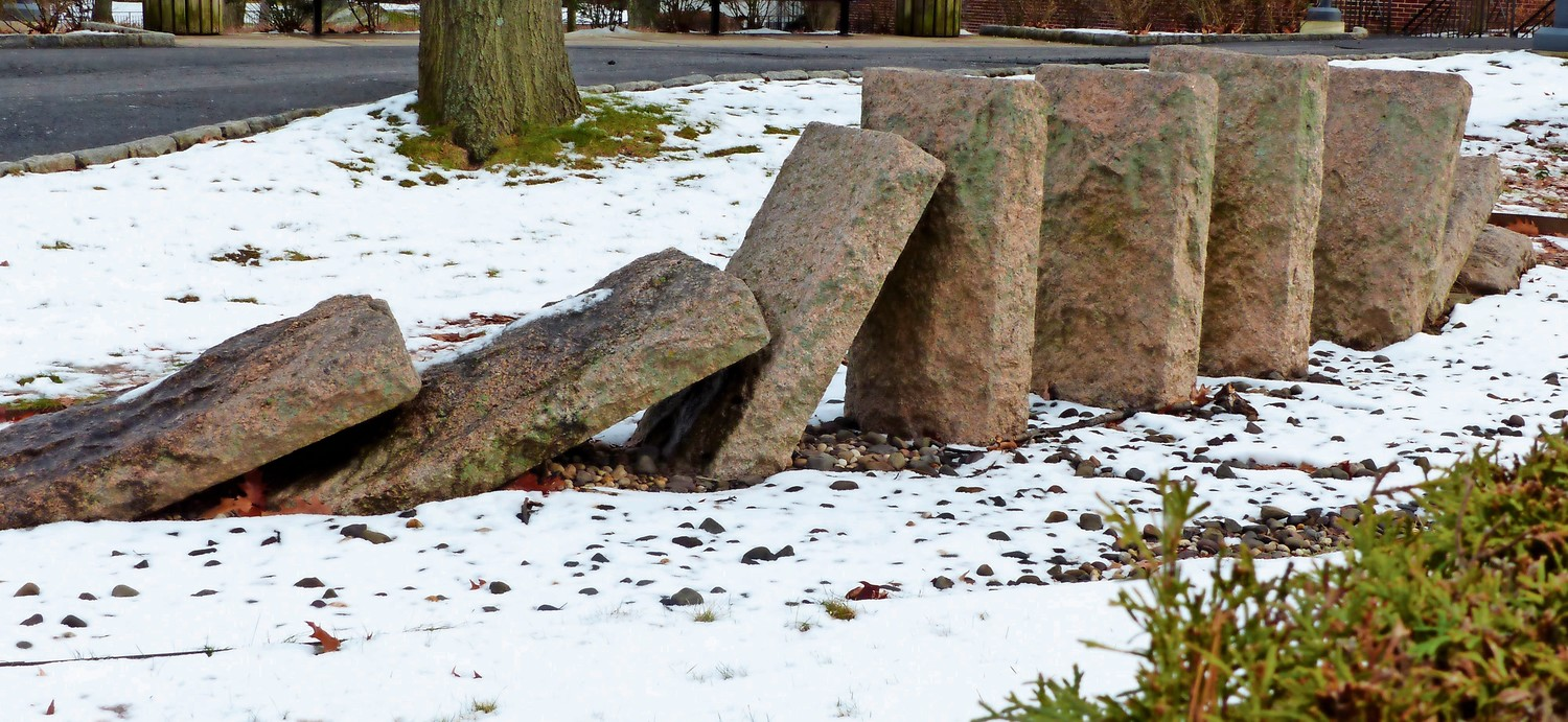No, this isn't the work of Andrew Goldsworthy, but instead a longtime educator at Riverdale Country School, Satish Joshi. Called 'Defiance,' it's located right outside the school on Fieldston Road.