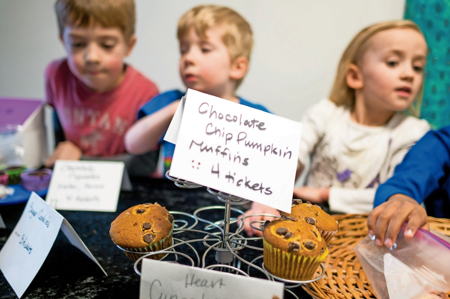Chocolate chip pumpkin muffins were popular at the bake sale at Riverdale Nursery School and Family Center. Students succeeded in raising $1,200, which they donated to Mosaic Mental Health.