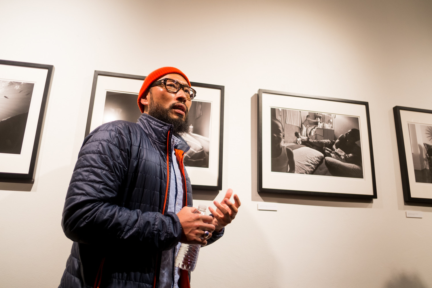Zun Lee talks about working on his project 'Father Figure: Exploring Alternate Notions of Black Masculinity' at the opening of his exhibition at the Bronx Documentary Center. It is on display until March 31.