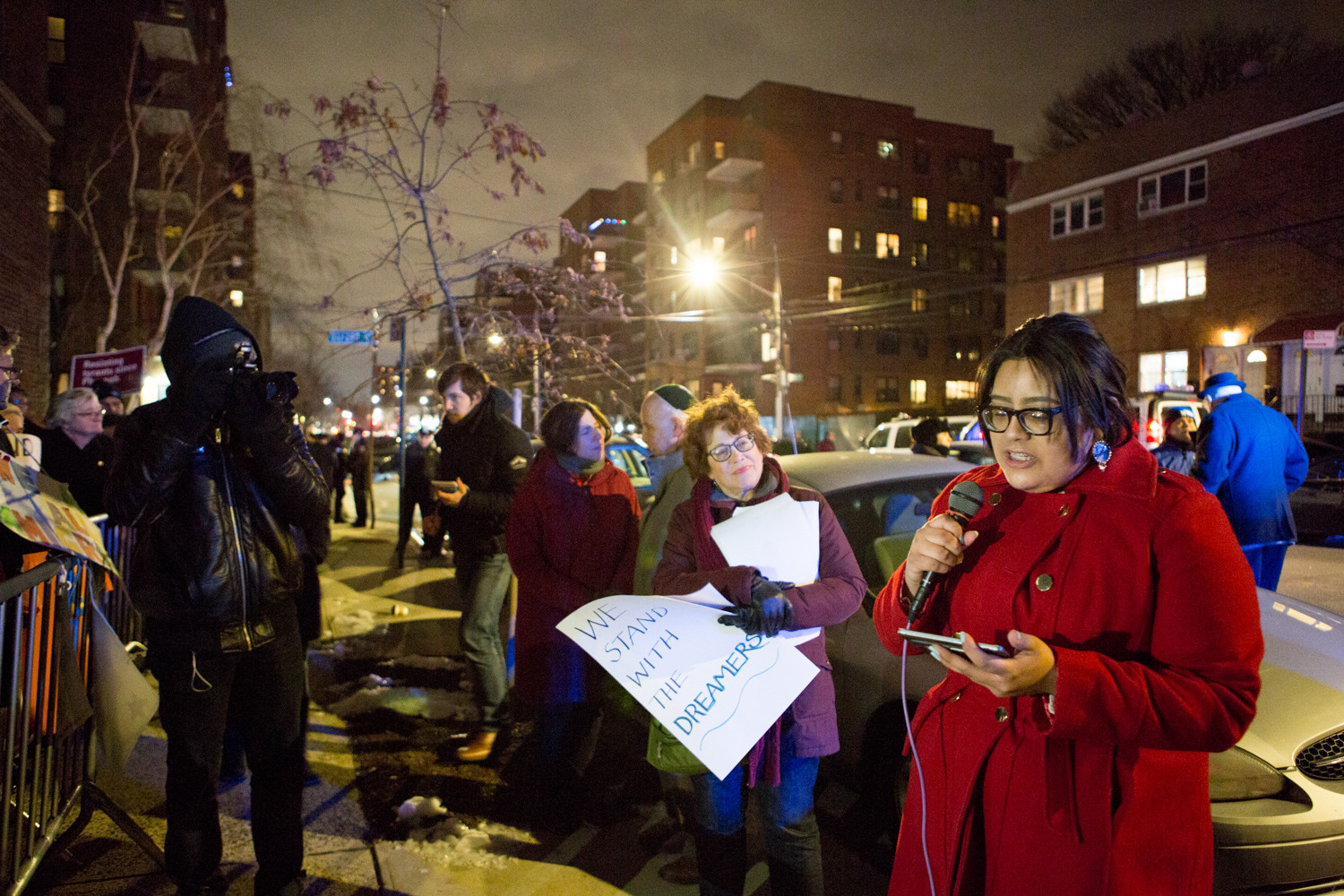 Maria Jose Guzman, 19, a local Dreamer and a Lehman College freshman, talks to rally-goers about her experiences as the child of undocumented immigrants at a rally urging Congress to pass a clean DREAM Act in front of U.S. Rep. Eliot Engel's Bronx office last Thursday.