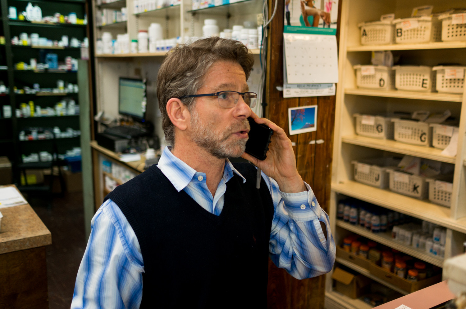 Robert Newman, a pharmacist at Regal Pharmacy, has had to use his personal cell phone to make calls for work. His landlines and internet service cut out, making it nearly impossible to do business. Verizon, he says, has been slow to respond.
