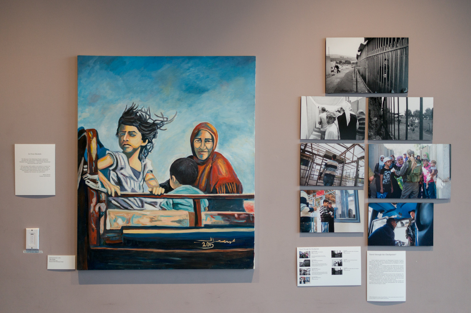 The multimedia exhibition 'Bethlehem Beyond the Wall' brings together photographs, paintings and films that depict life in and around the Palestinian city of Bethlehem. The Museum of the Palestinian People curated the exhibition. It is on display until Feb. 27.