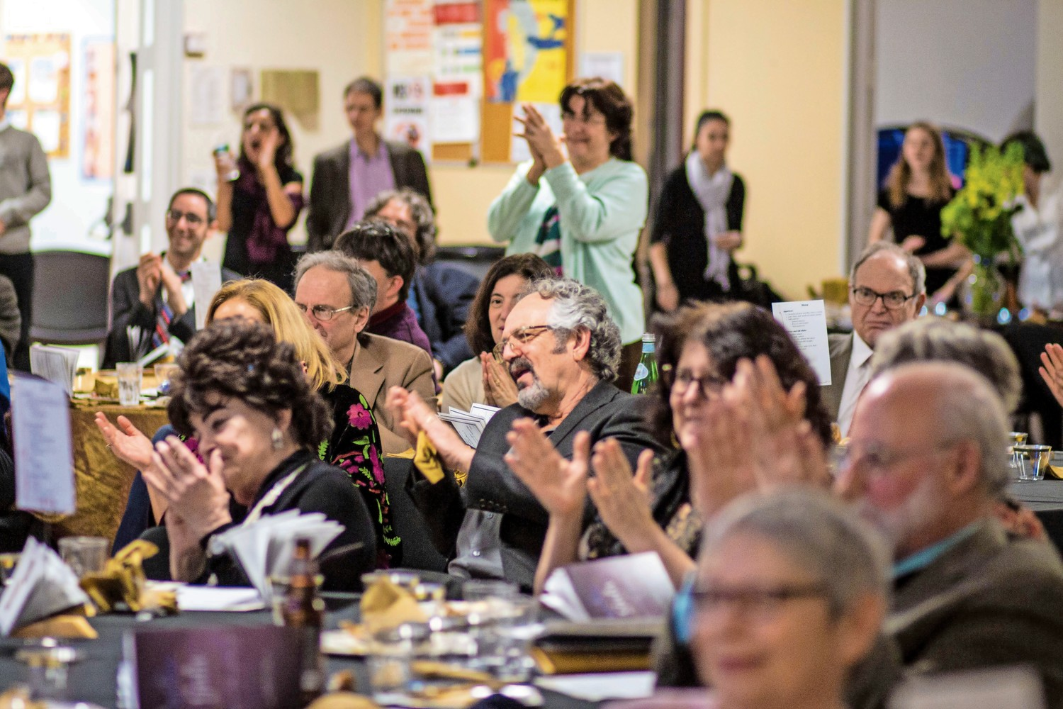 Rabbi Linda Shriner-Cahn receives an ovation from the assembled audience. Shriner-Cahn, who has served as the Congregation Tehillah's rabbi for nearly the past decade, was honored during the congregation's annual gala at The Riverdale Y.