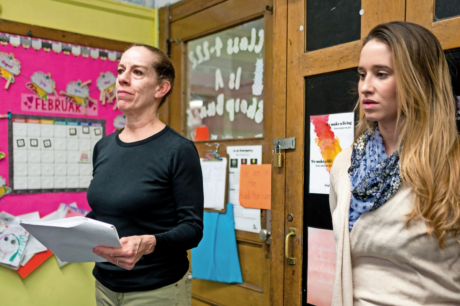 Kim Johnson, an artist in residence at P.S. 81, left, leads a rehearsal in Grace Hoffman's fourth grade class.