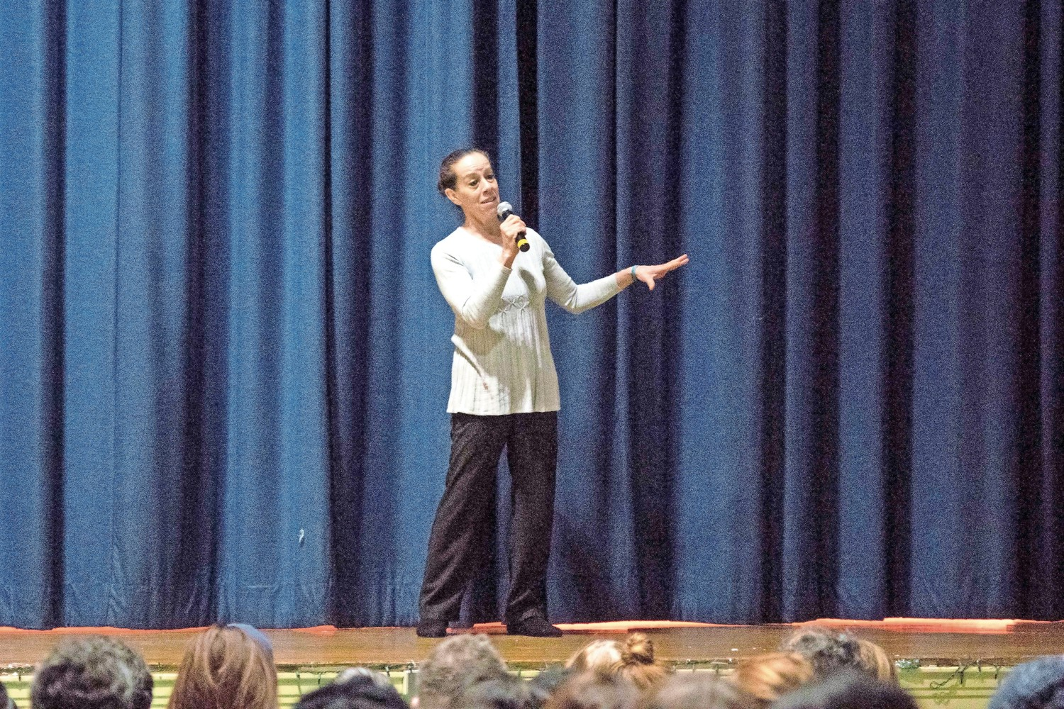Kim Johnson introduces a new act in a play about early American history at P.S. 81.