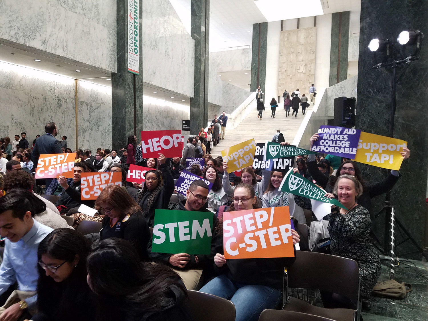 Students from more than 60 private schools, including Manhattan College and the College of Mount Saint Vincent, traveled to Albany Feb. 14 to advocate for student aid. This year's push was in favor of Bundy funding, which encourages schools to help students make it to the degree stage.