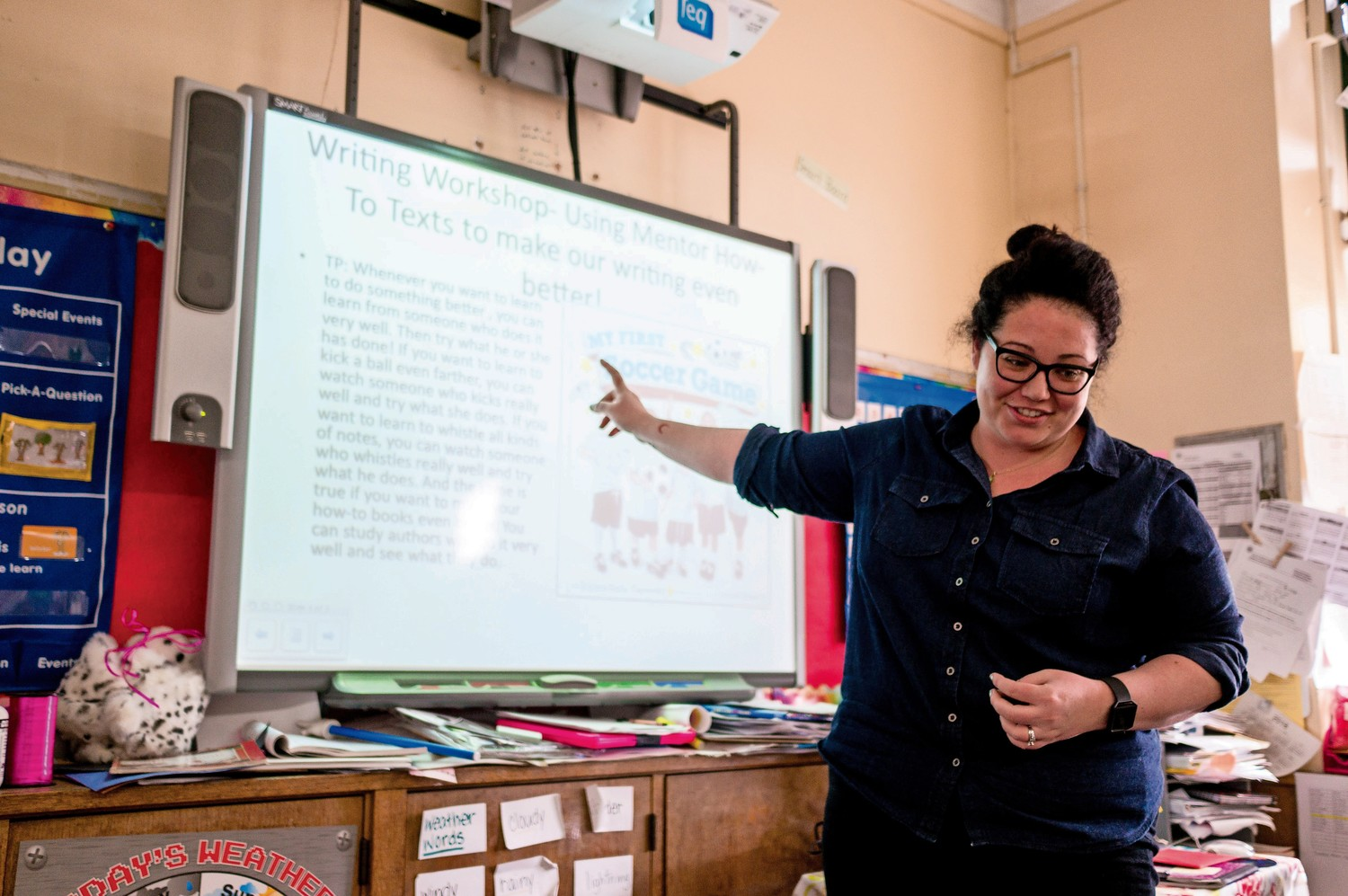 At P.S. 24, smartboards are a part of classrooms. Elsa Gilheany, a kindergarten teacher, uses a smartboard to help her students learn.