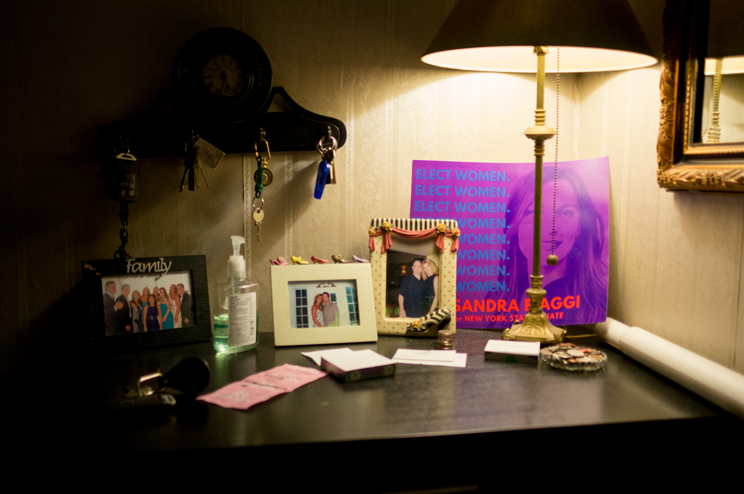 A campaign poster for Alessandra Biaggi rests in the foyer of her home, which doubles as her campaign headquarters.