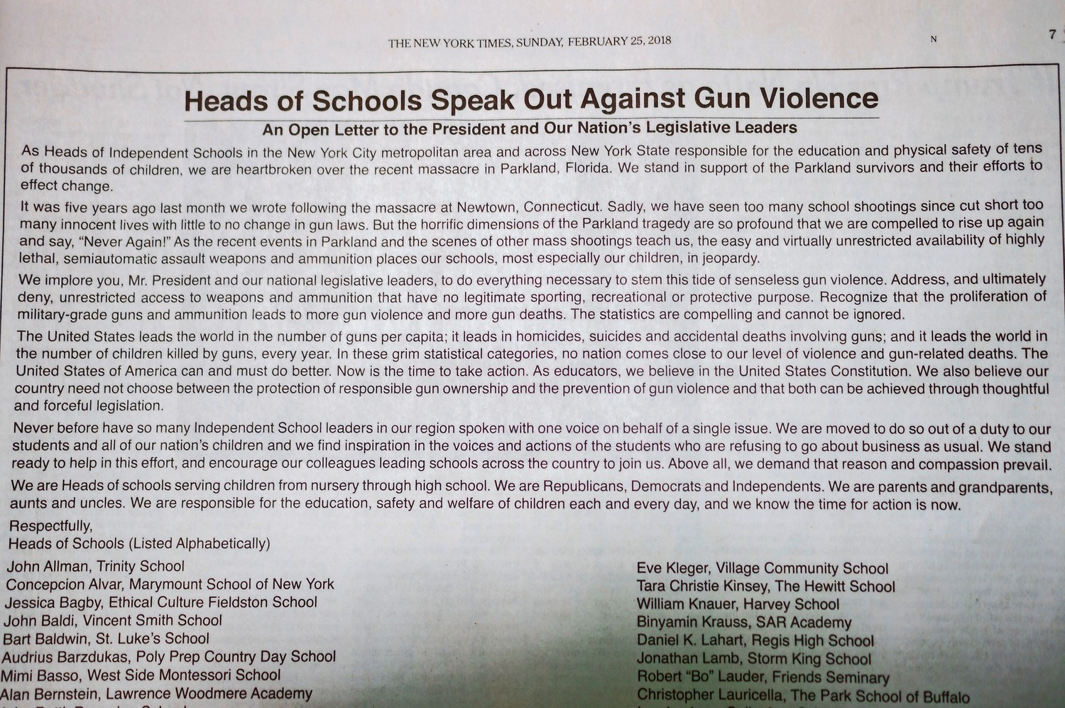 The heads of schools in New York City and New York State signed an open letter to the federal government in a full-page advertisement in The New York Times. Collectively, they call for meaningful action to curb gun violence.