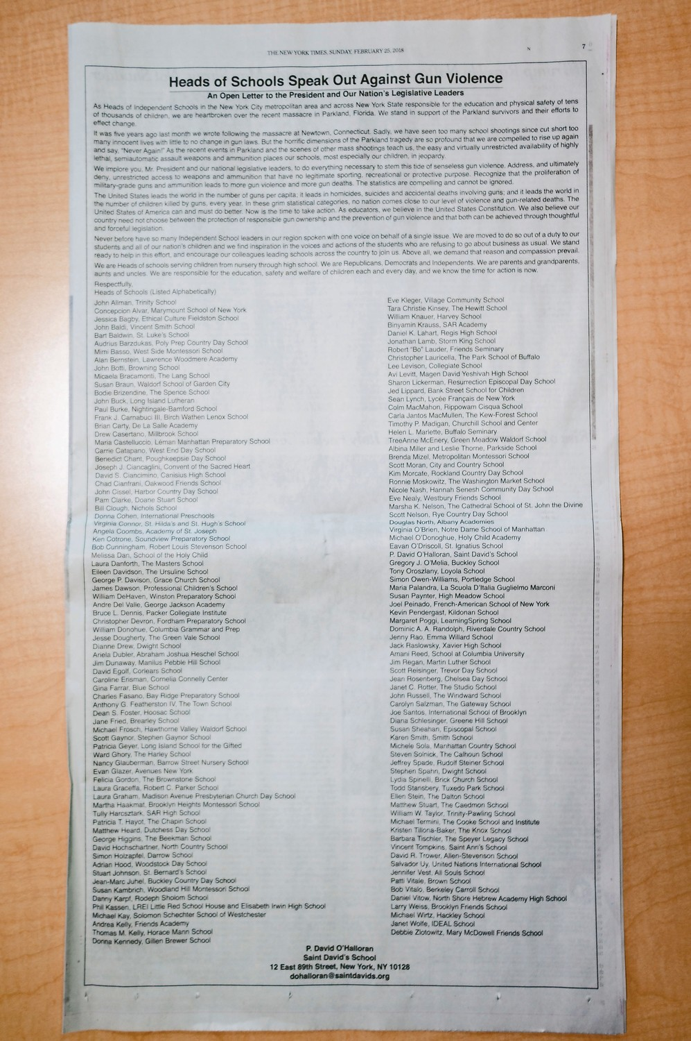A full-page advertisement in The New York Times called on the federal government to take meaningful action to curb gun violence.