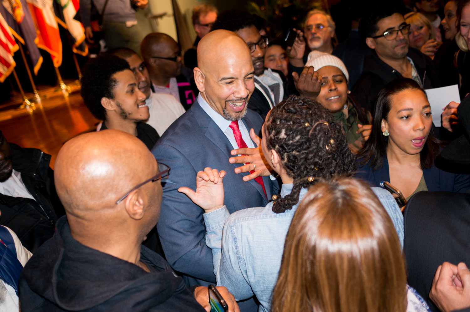 Bronx borough president Ruben Diaz Jr., speaks with audience members after the state of the borough address at the Bronx High School of Science last week.