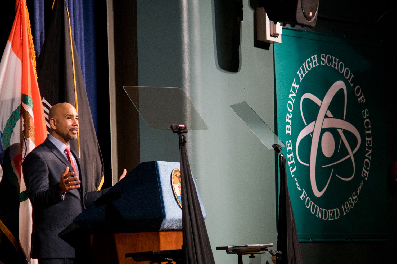 Bronx borough president Ruben Diaz Jr., gives a rousing conclusion to his state of the borough address at the Bronx High School of Science. Having attracted billions of dollars in infrastructure spending, creating thousands of new jobs, helping new businesses expand, and becoming a destination for visitors from around the globe, Diaz called the borough's future bright.