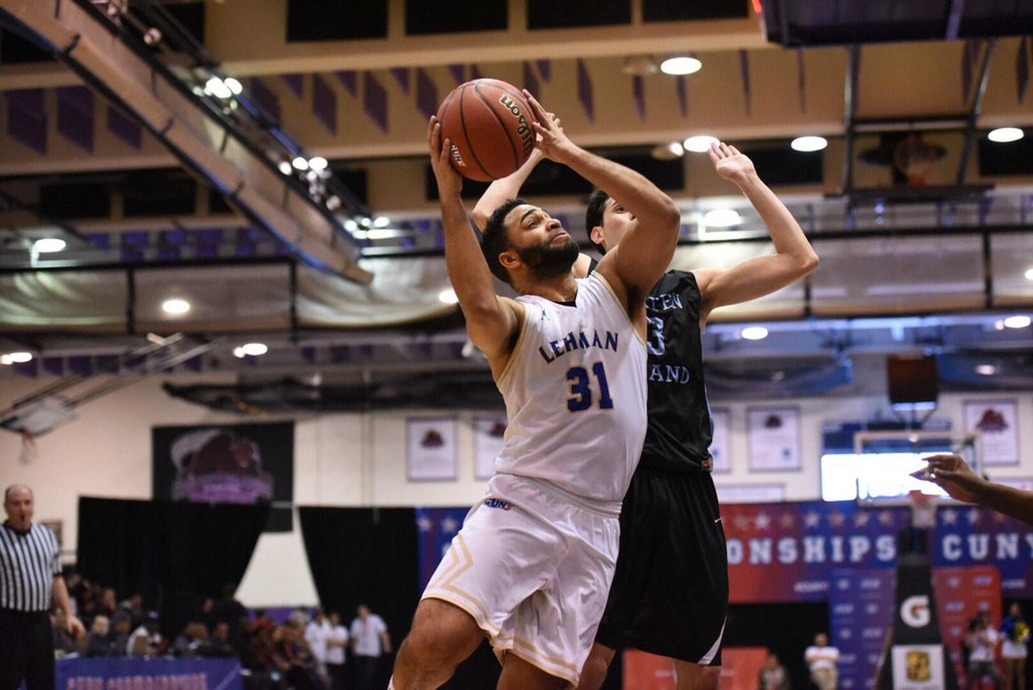 Lehman's Andrew Utate poured in 24 points in the CUNYAC title game versus Staten Island, but it wasn't enough as the Lightning dropped a 77-75 decision.
