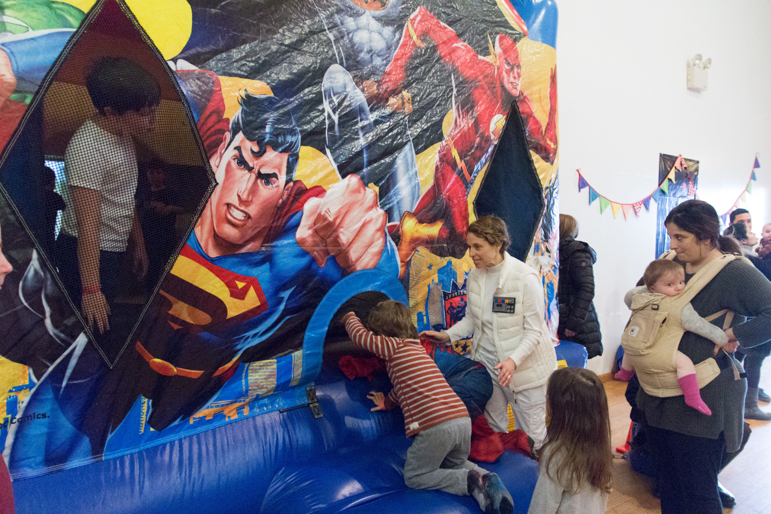 Inflatable bounce houses were a popular attraction amongst the kids during the Riverdale Temple's Purim carnival.