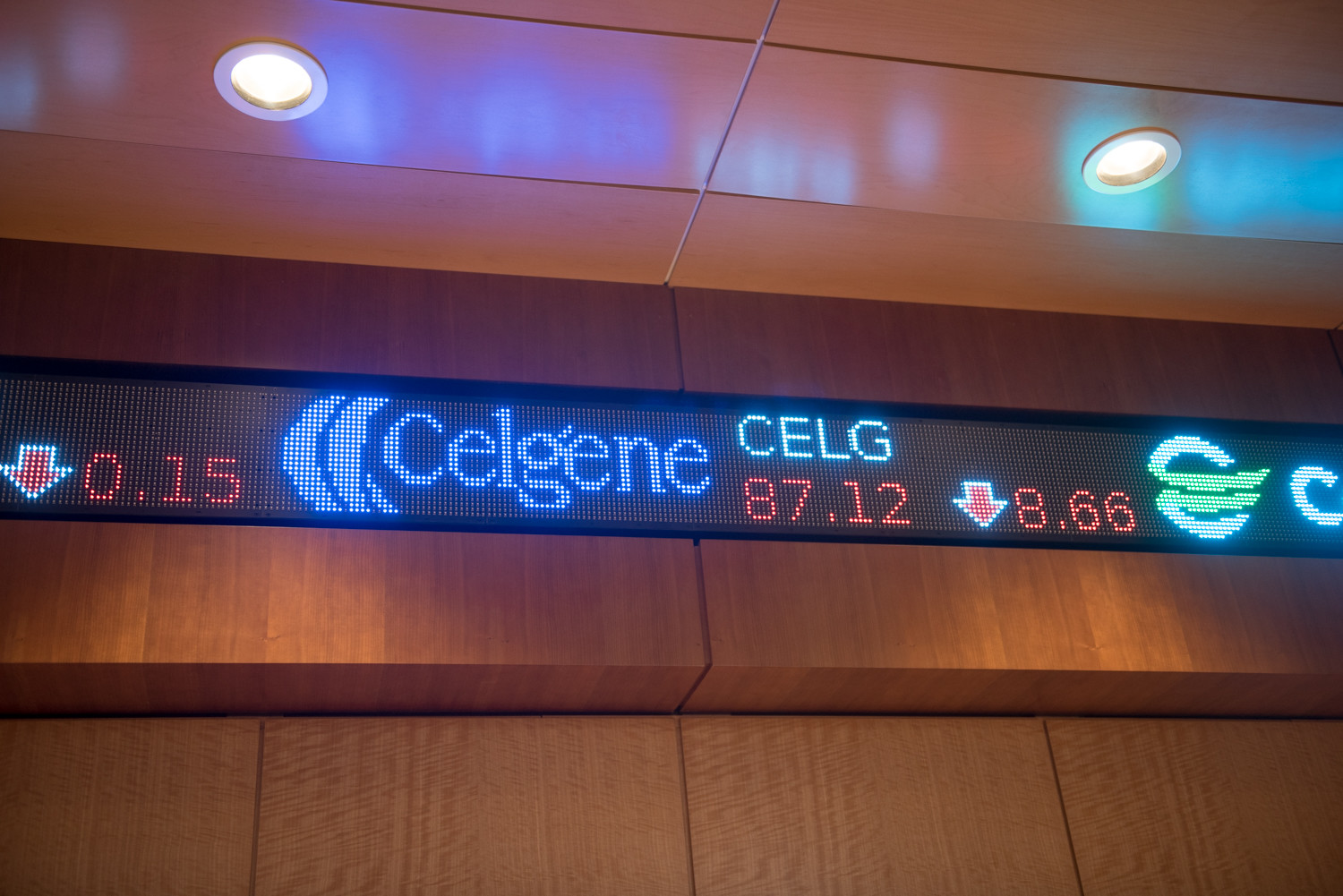 A stock ticker in De La Salle Hall shows the current state of the stock market.