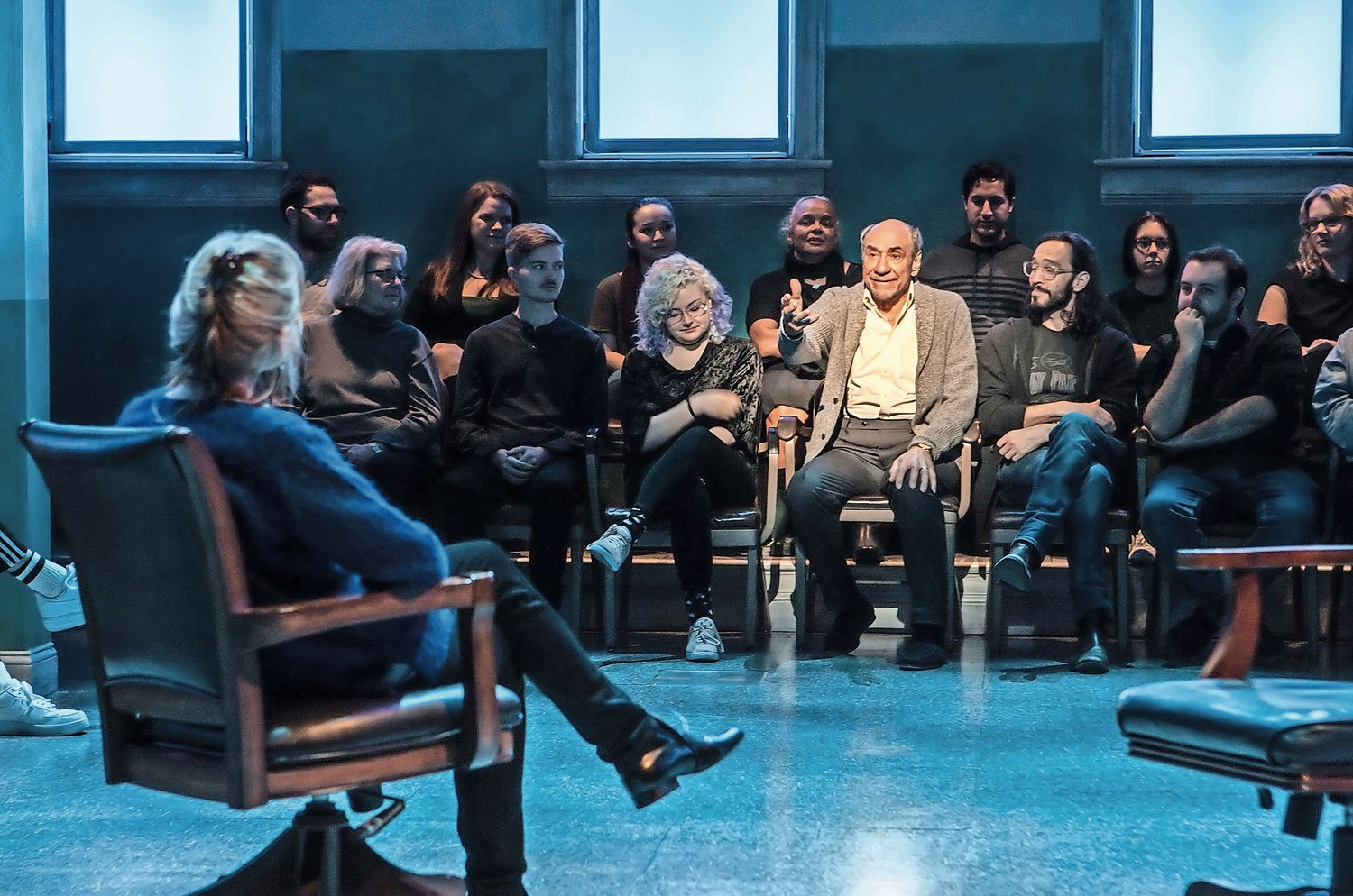 F. Murray Abraham knows how to stand out in the crowd, even when he shares the stage with Amy Madigan, back, in David Rabe's 'Good for Otto,' now playing at the Pershing Square Signature Center.