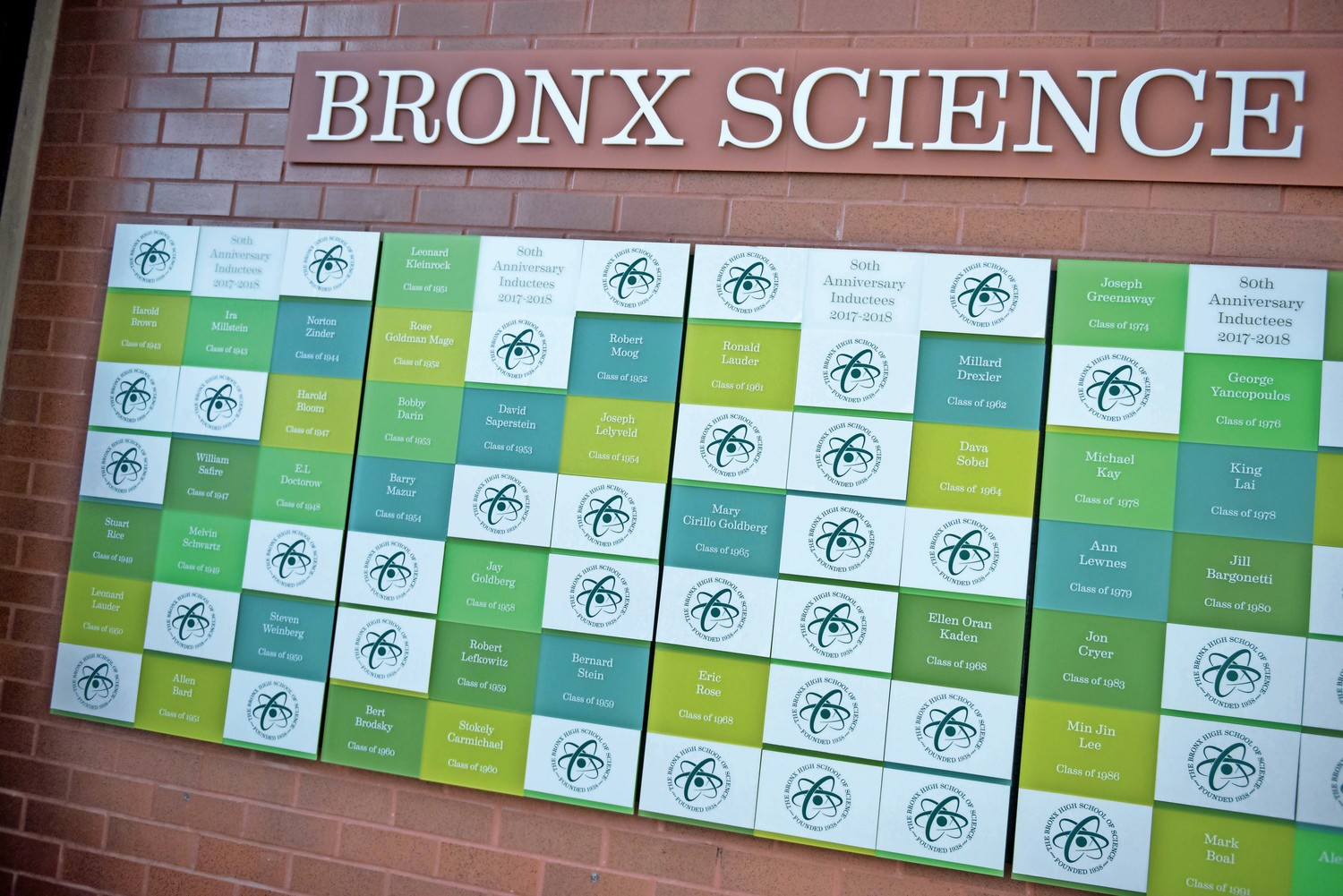 The hall of fame at Bronx Science displays the names and graduation years of notable alumni. Each alum has to come by the school to unveil his or her name.