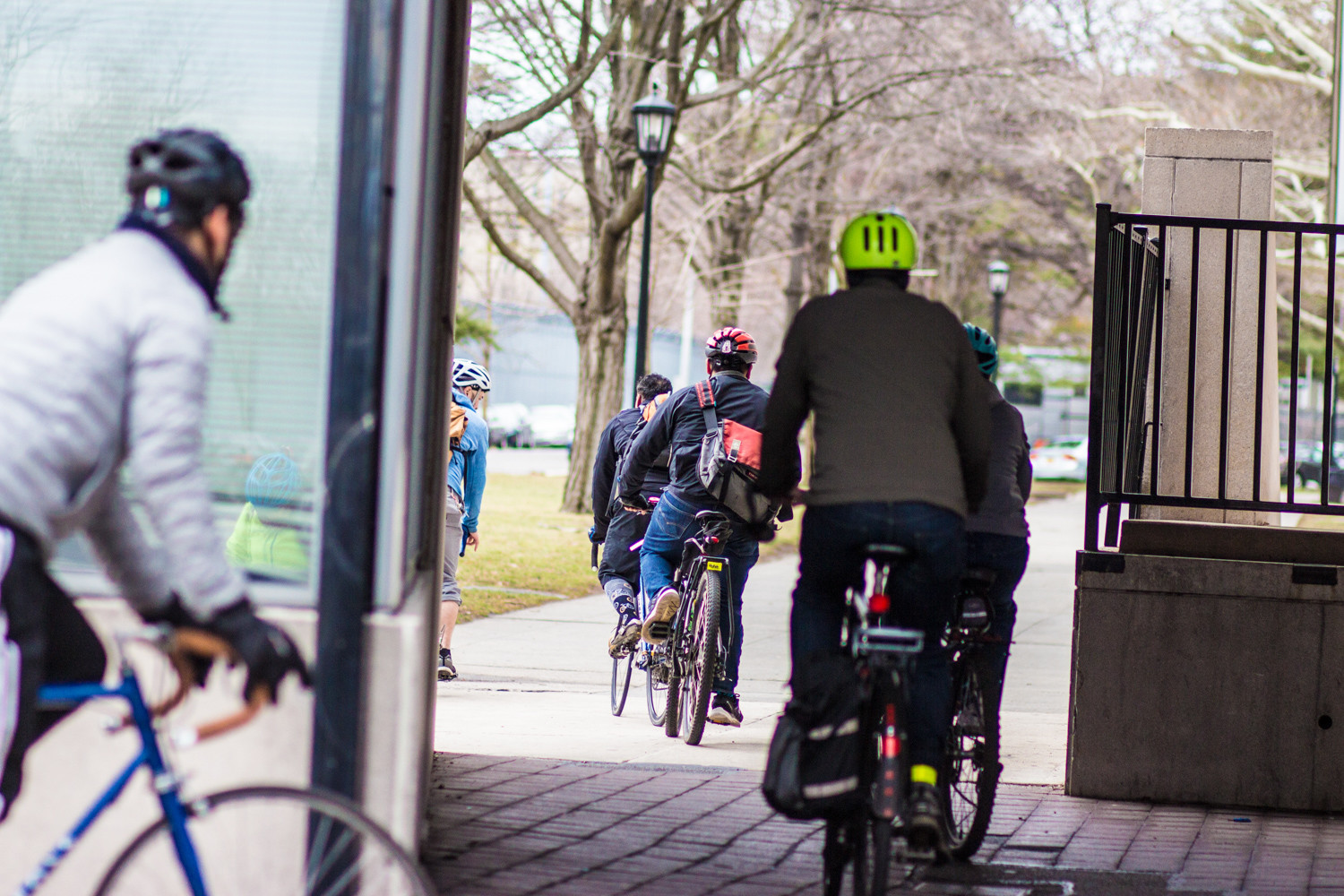 A group of cyclists enter Lehman College's campus for this year's Bronx Parks Speak Up on Feb. 24. Organized by the nonprofit Transportation Alternatives, the Saturday morning ride across the Bronx's different parks is now in its fourth year.